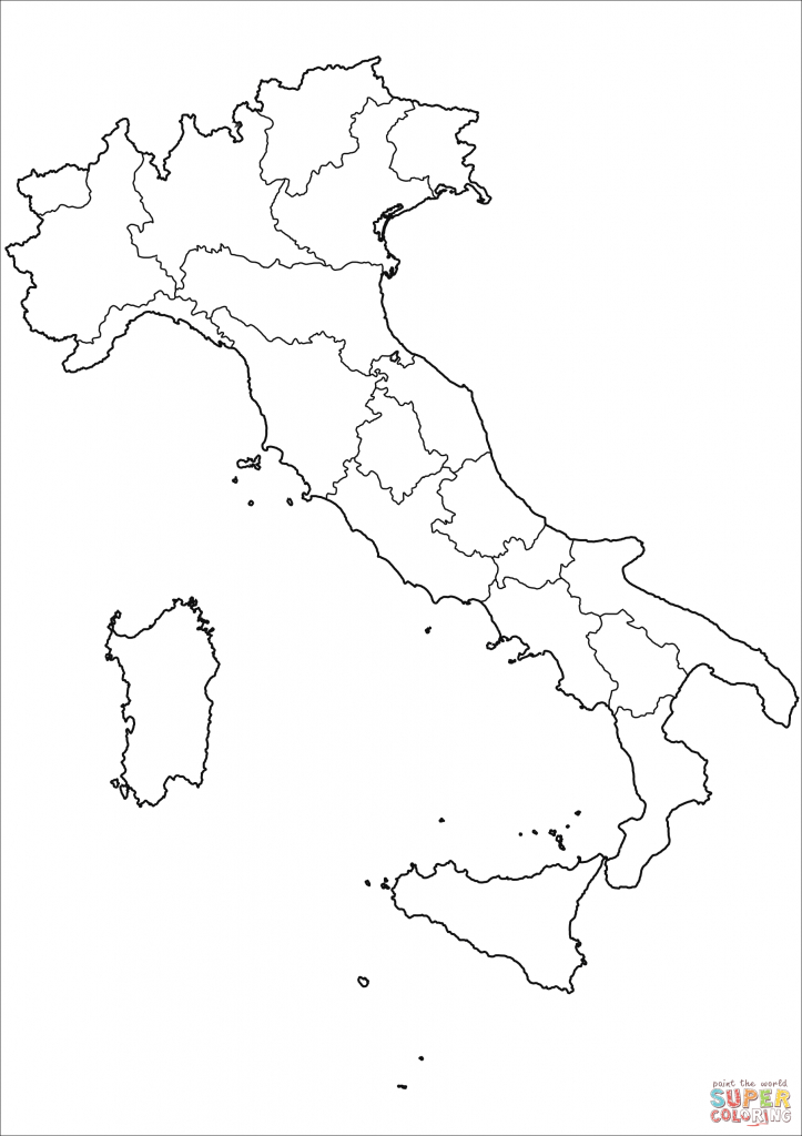 Outline Map Of Italy With Regions Coloring Page | Free Printable - Printable Map Of Italy For Kids