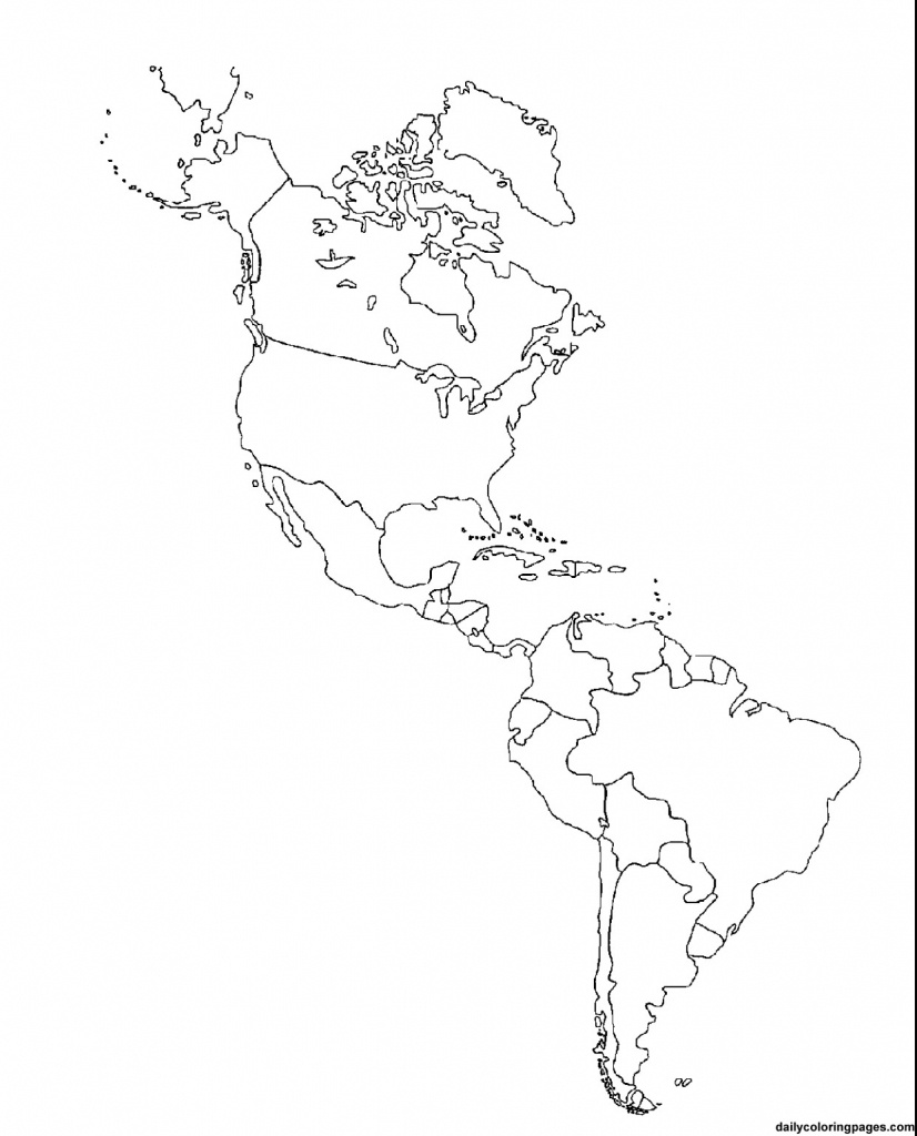 Outline Map Of South America Printable Tidal Treasures And Blank - Blank Map Of The Americas Printable