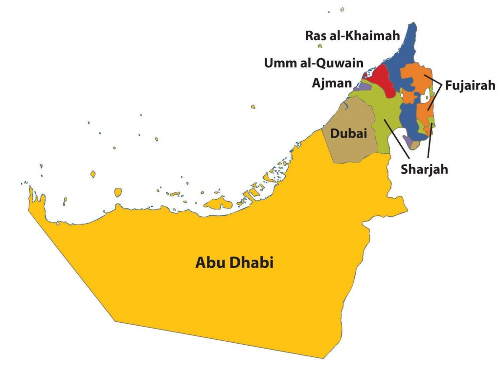 Outline Map Of Uae With 7 Emirates - Google Search | General - Outline Map Of Uae Printable