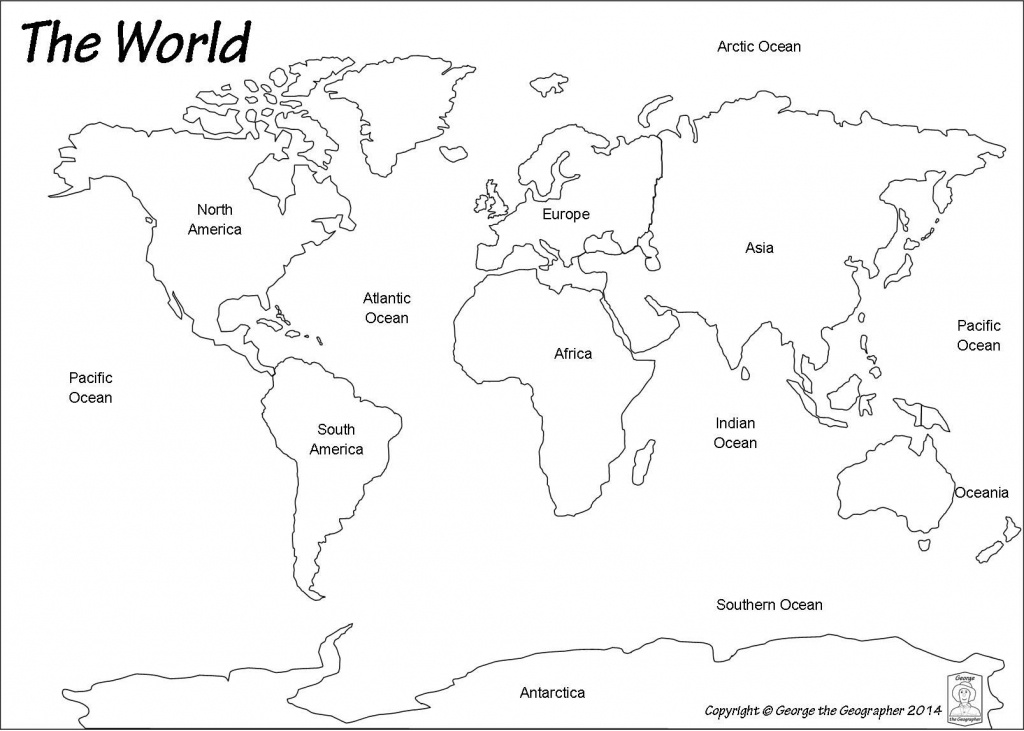 Outline World Map | Map | World Map Continents, Blank World Map - Blank Map Of The Continents And Oceans Printable