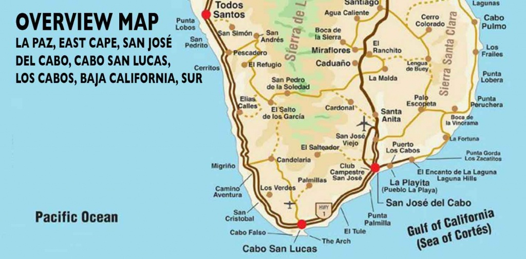 Overview Map Of Southern Baja - Los Cabos Guide - La Paz Baja California Map