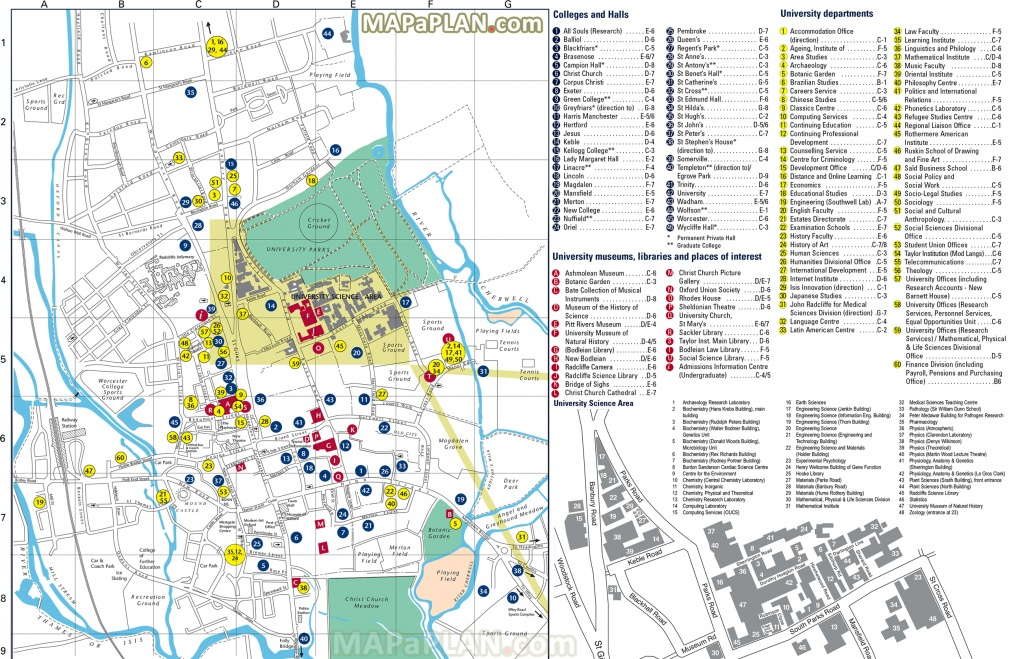 Oxford Maps - Top Tourist Attractions - Free, Printable City Street Map - Printable Map Of Oxford