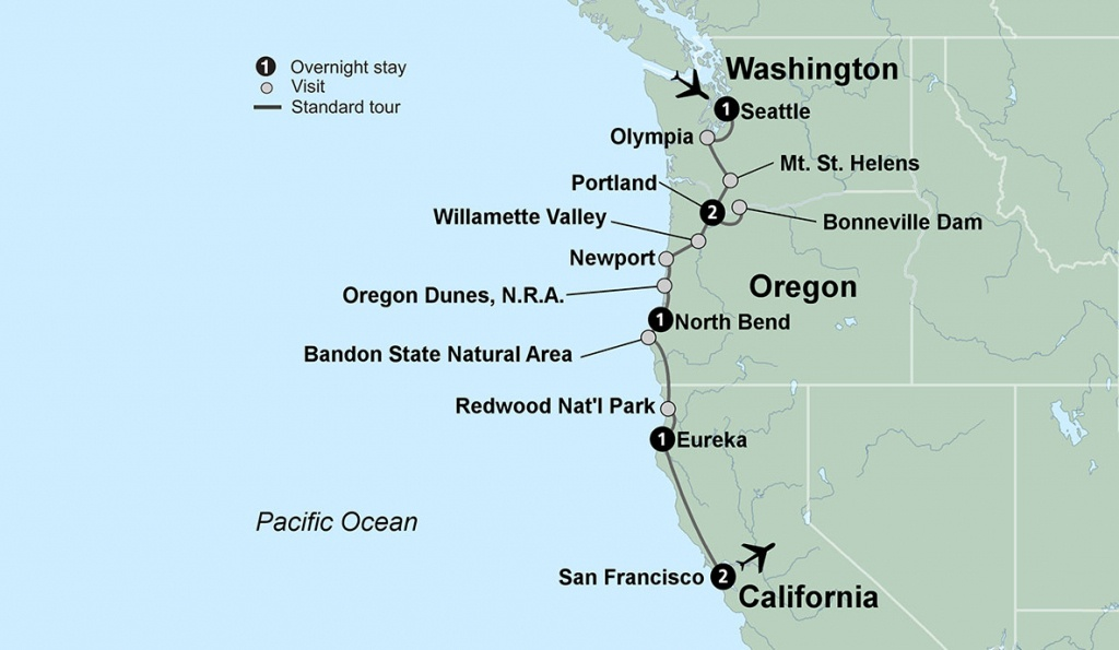 Pacific Northwest Tours And Vacations With Collette - California Oregon Washington Road Map