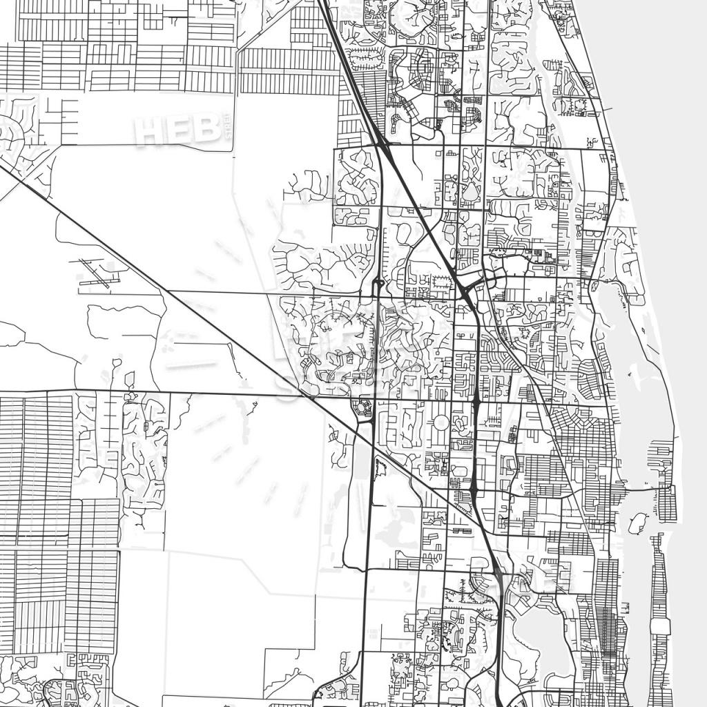 Palm Beach Gardens, Florida - Area Map - Light | Hebstreits Sketches - Palm Beach Gardens Florida Map