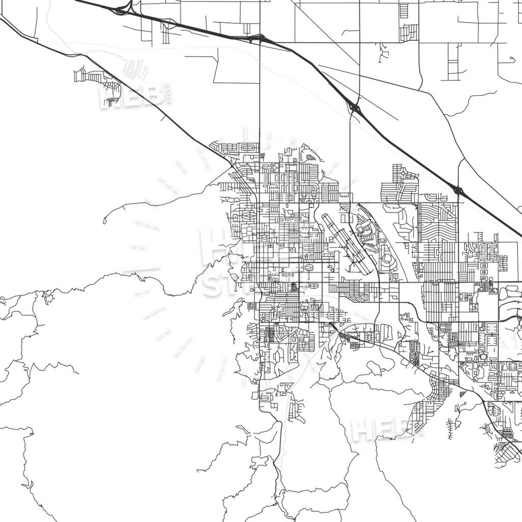 Palm Springs, California - Area Map - Light | Hebstreits Sketches - Map Of Palm Springs California And Surrounding Area