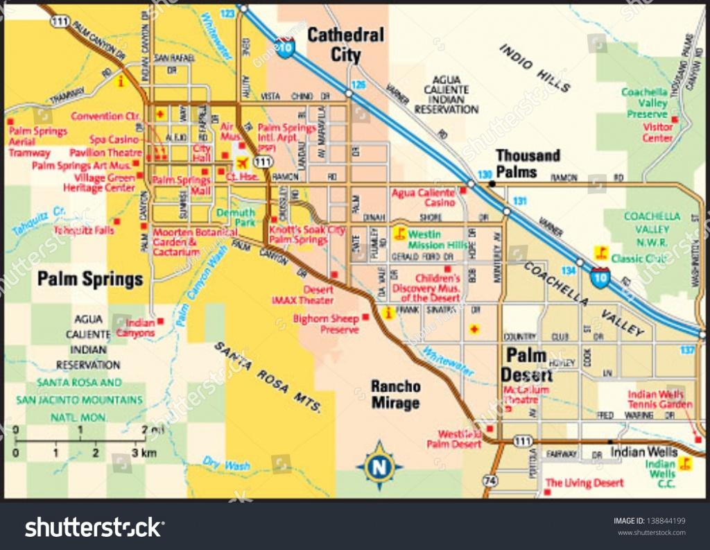Palm Springs California Area Map Stock Vector (Royalty Free) 138844199 - Where Is Palm Springs California On A Map