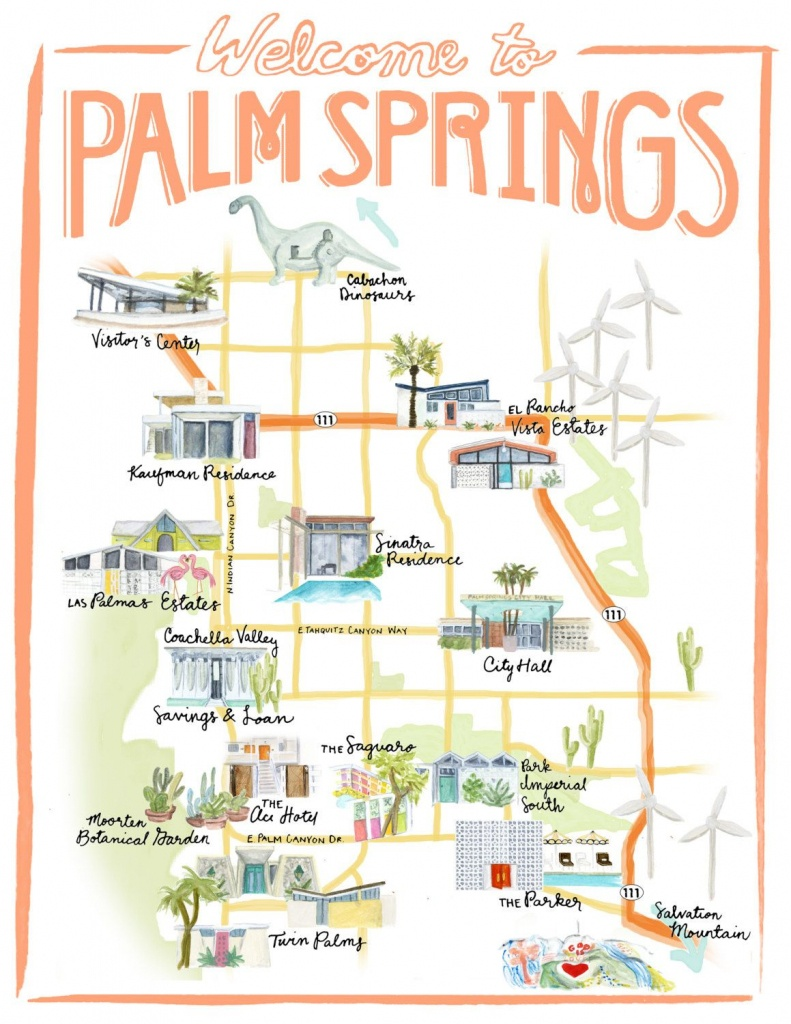 Palm Springs California Illustrated Travel Map Print Of Watercolor - Map Of Palm Springs California And Surrounding Area