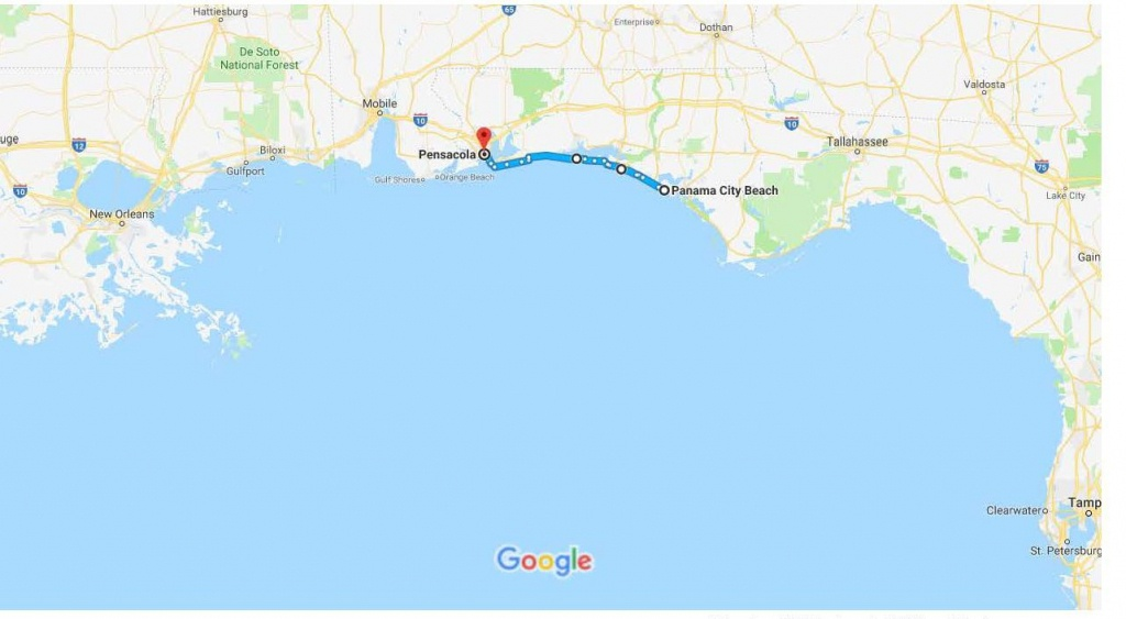 Panama City Beach, Fl To Pensacola, Fl – Google Maps | Urban Bicycle - Panama Beach Florida Map
