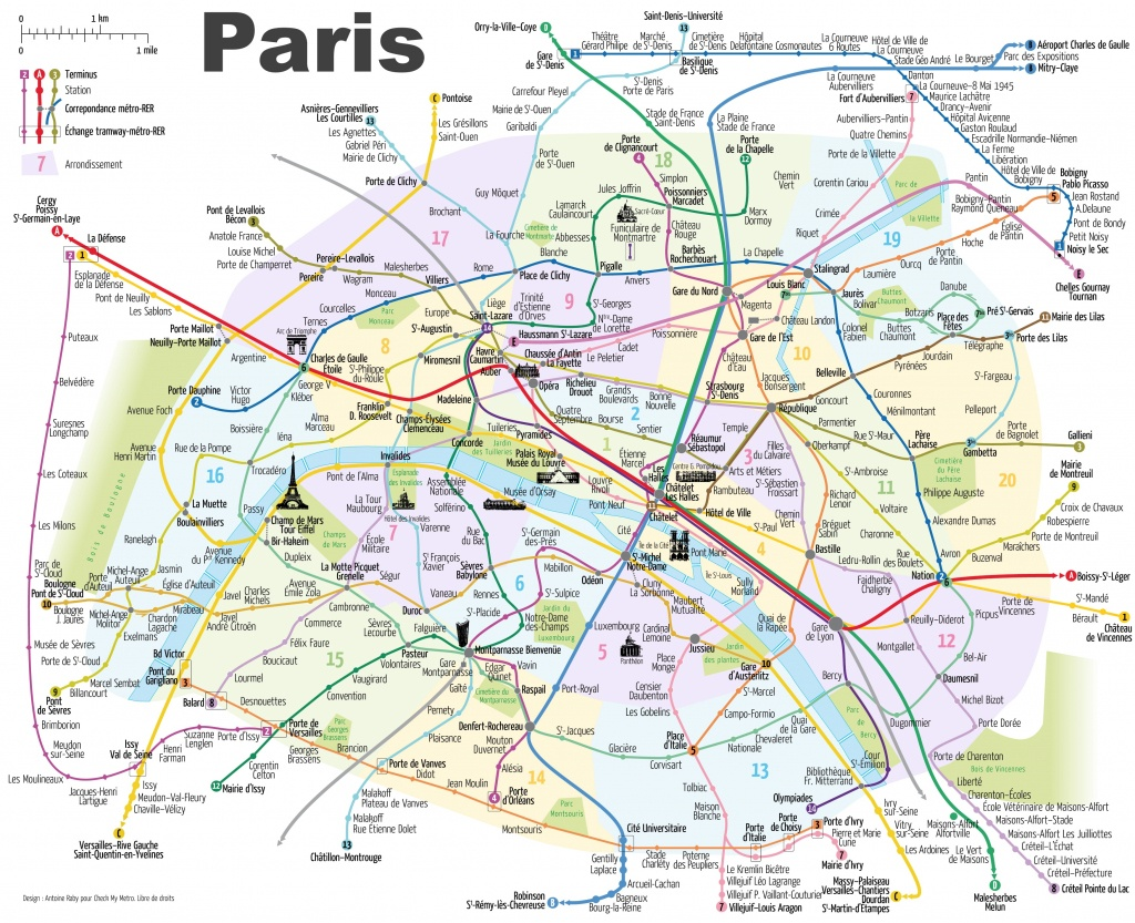 Paris Attractions Map Pdf - Free Printable Tourist Map Paris, Waking - Paris City Map Printable