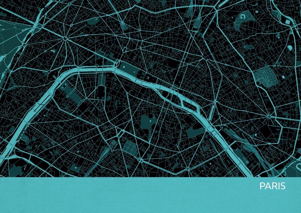 Paris City Street Map Print Turquoise - Paris Street Map Printable