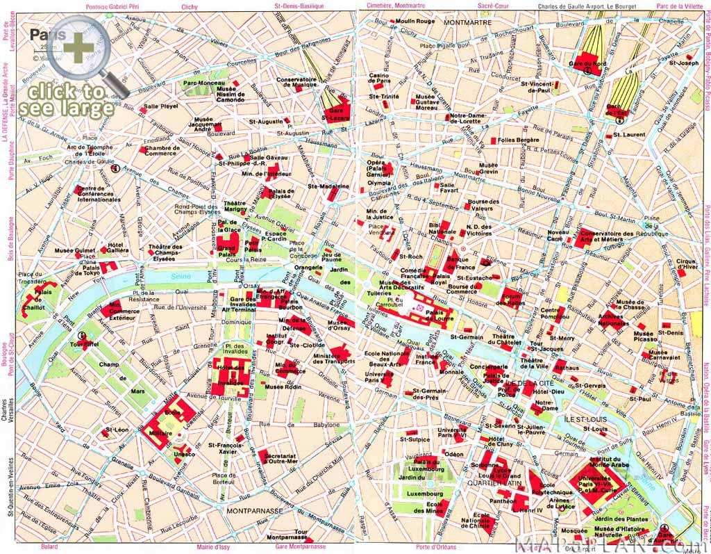 Paris Maps - Top Tourist Attractions - Free, Printable - Mapaplan - Printable Tourist Map Of Paris France