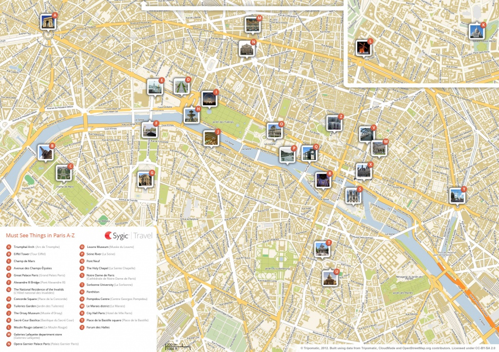 Paris Printable Tourist Map | Sygic Travel - Printable Map Of Paris