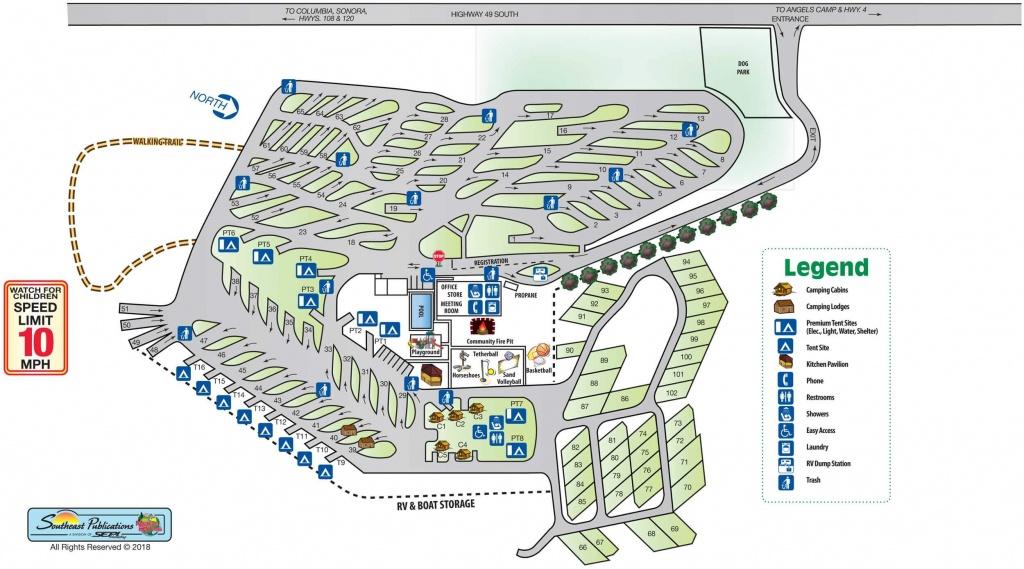 Park Info - Angels Camp Rv Resort - California Rv Camping Map