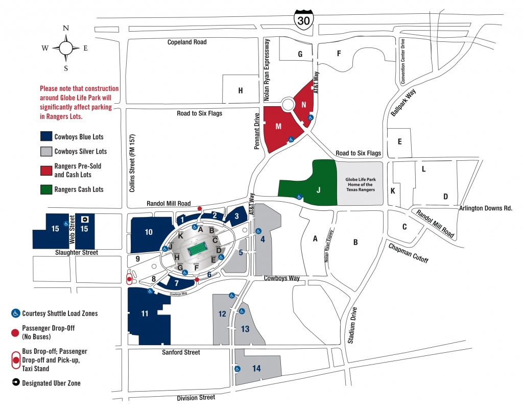 Parking | At&t Stadium - Texas Rangers Season Ticket Parking Map