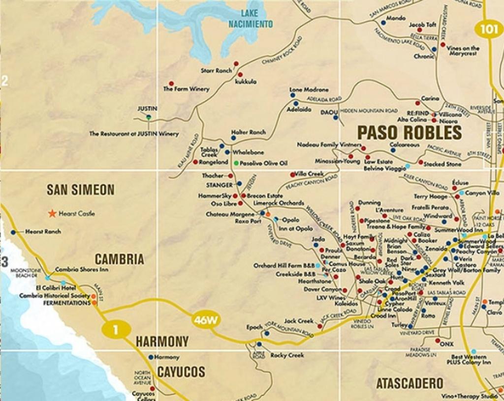 Paso Robles Area Wine Tasting Map   Future Travels   Paso Robles - Where Is Paso Robles California On The Map