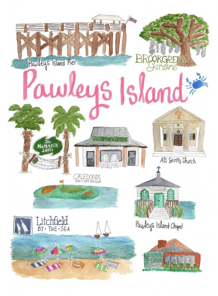 Pawleys Island Sc Map Landmark Print Illustrated Watercolor | Etsy - Brookgreen Gardens Printable Map