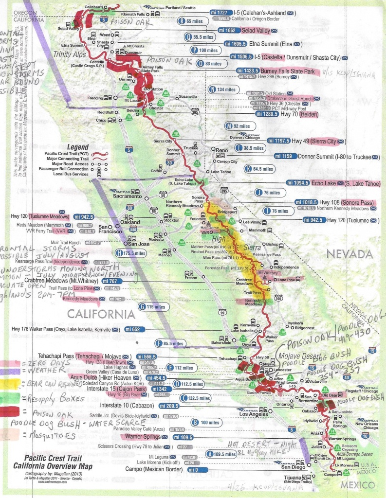 Pct Hike Preparations | Coastal2015's Blog - Pct Map California