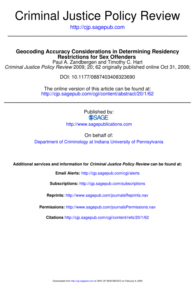 Pdf) Geocoding Accuracy Considerations In Determining Residency - Megan's Law Map Of Offenders California