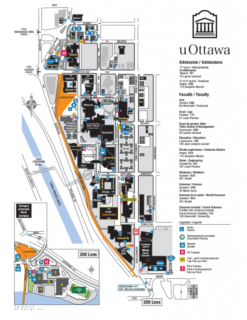 Pdf Maps | Facilities | University Of Ottawa - Printable Map Of Ottawa