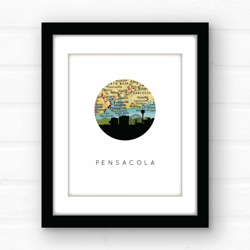 Pensacola, Florida Map Print | Florida Beach Decor | Florida Home Decor |  Florida Pandhandle | Gulf Coast Decor | Travel Poster Art - Printable Map Of Pensacola Florida