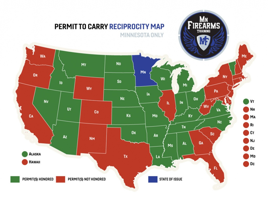 Permit To Carry Maps | Mn Firearms Training - Texas Reciprocity Map 2018