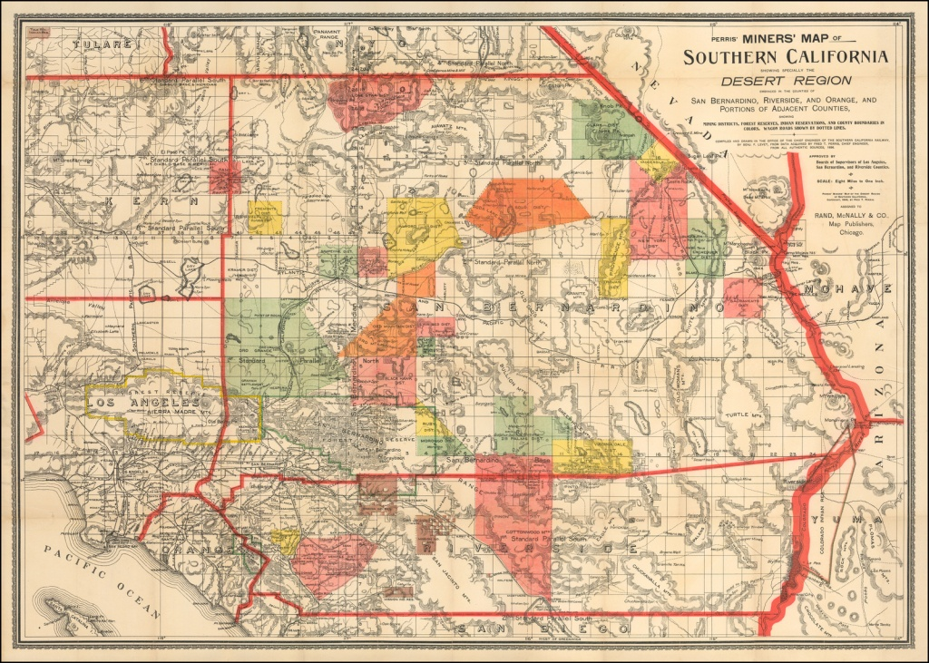 Perris' Miners' Map Of Southern California Showing Specially The - Perris California Map