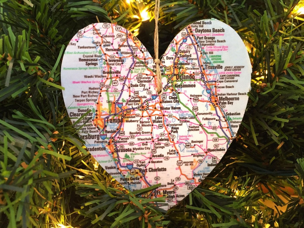 Personalized Florida Map Ornament | Jolly Holiday | Ornaments - Christmas Florida Map