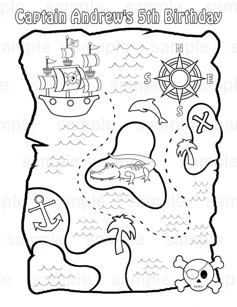 Personalized Printable Pirate Treasure Map Birthday Party Favor - Printable Pirate Map