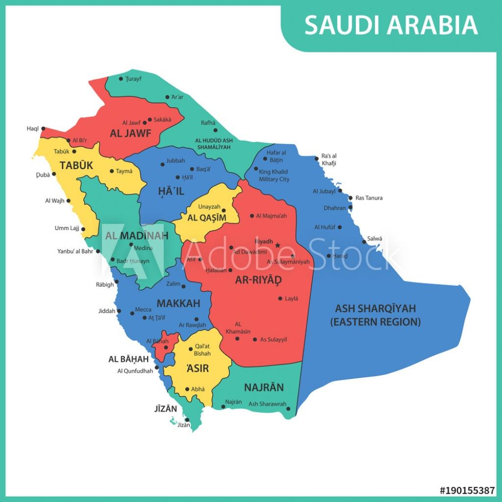 Photo & Art Print The Detailed Map Of The Saudi Arabia With Regions - Printable Map Of Saudi Arabia