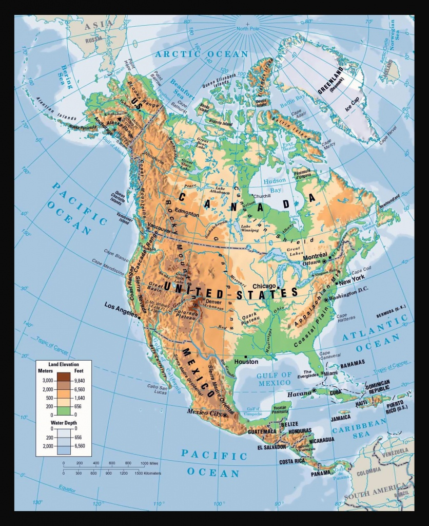 Physical Map Of North America. North America Physical Map | Vidiani - Printable Physical Map Of North America