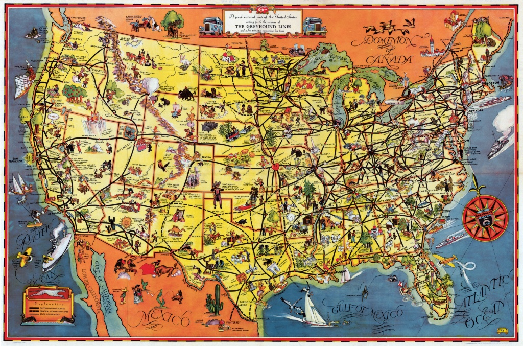 Pictorial Map Setting Forth The Services Of The Greyhound Lines And - Greyhound Map California