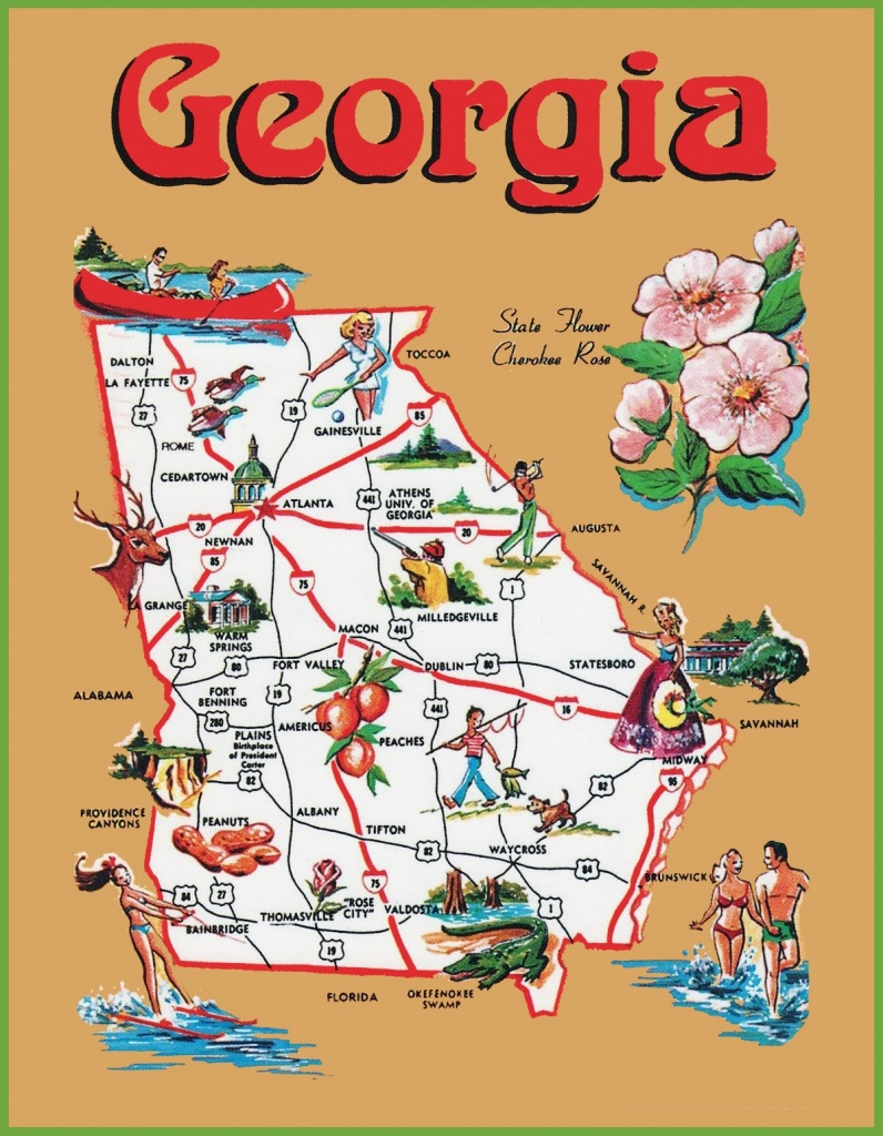 Pictorial Travel Map Of Georgia - Travel Texas Map