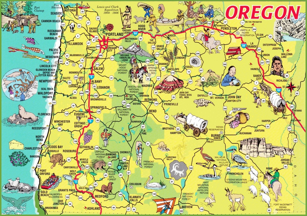 Pictorial Travel Map Of Oregon - Printable Map Of The Oregon Trail