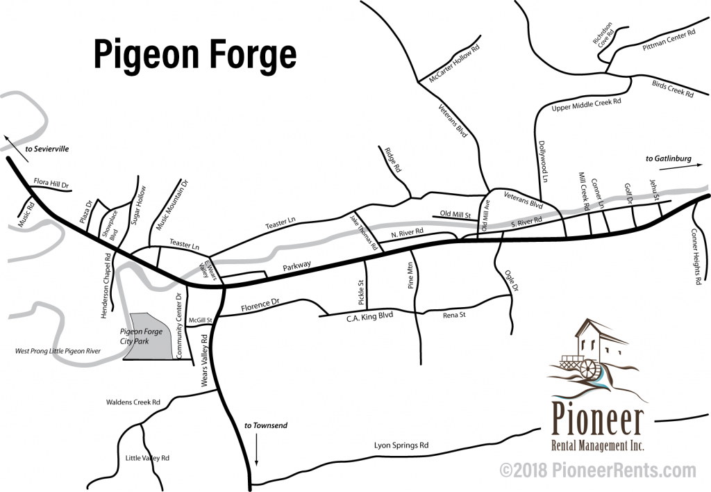 Pigeon Forge Map - Map Of Pigeon Forge - Printable Map Of Pigeon Forge Tn