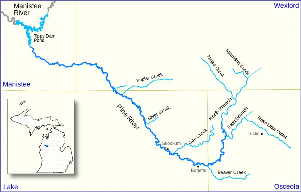 Pine River (Manistee River) - Wikipedia - Michigan River Map Printable