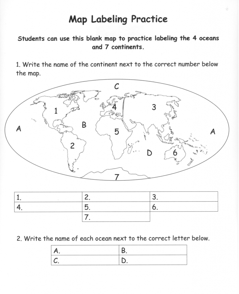 Pinecko Ellen Stein On Learning Goodies | Continents, Oceans - Continents And Oceans Map Quiz Printable