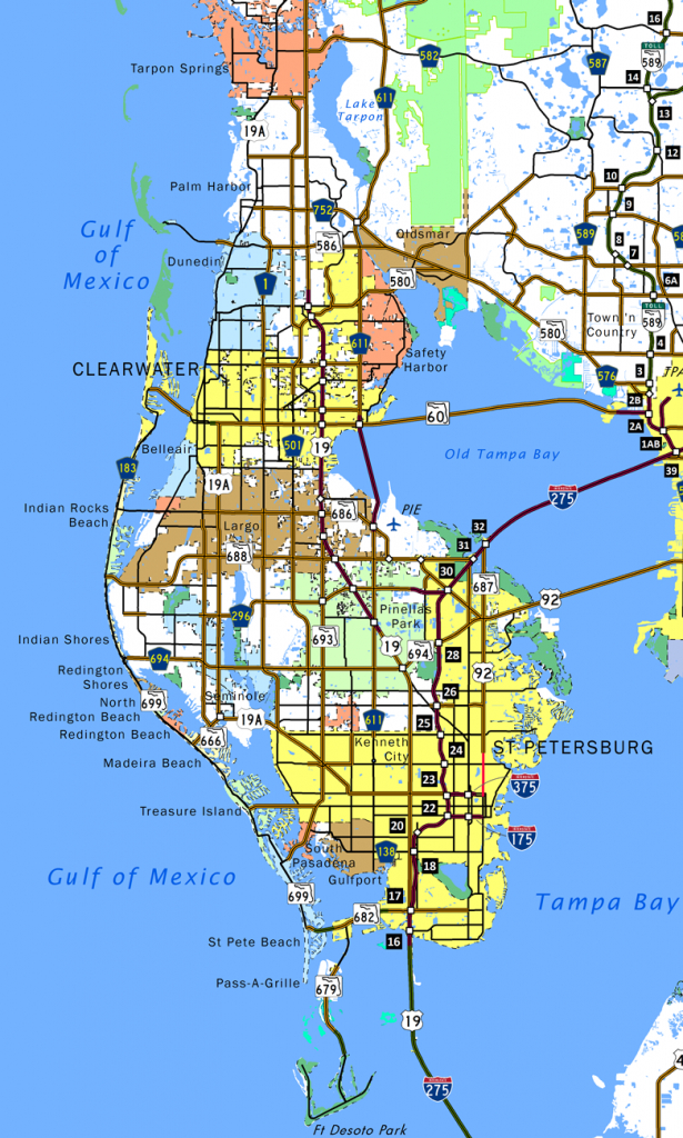 Pinellas County - Aaroads - Map Of Pinellas County Florida