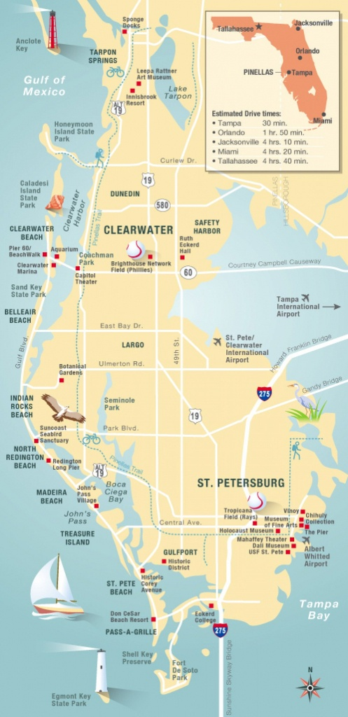 Pinellas County Map Clearwater, St Petersburg, Fl | Florida - Clearwater Beach Florida Map Of Hotels