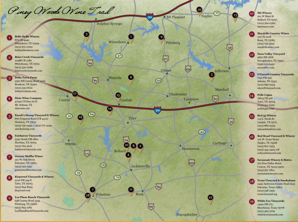 Piney Woods Wine Trail | Texas Uncorked - Fredericksburg Texas Winery Map