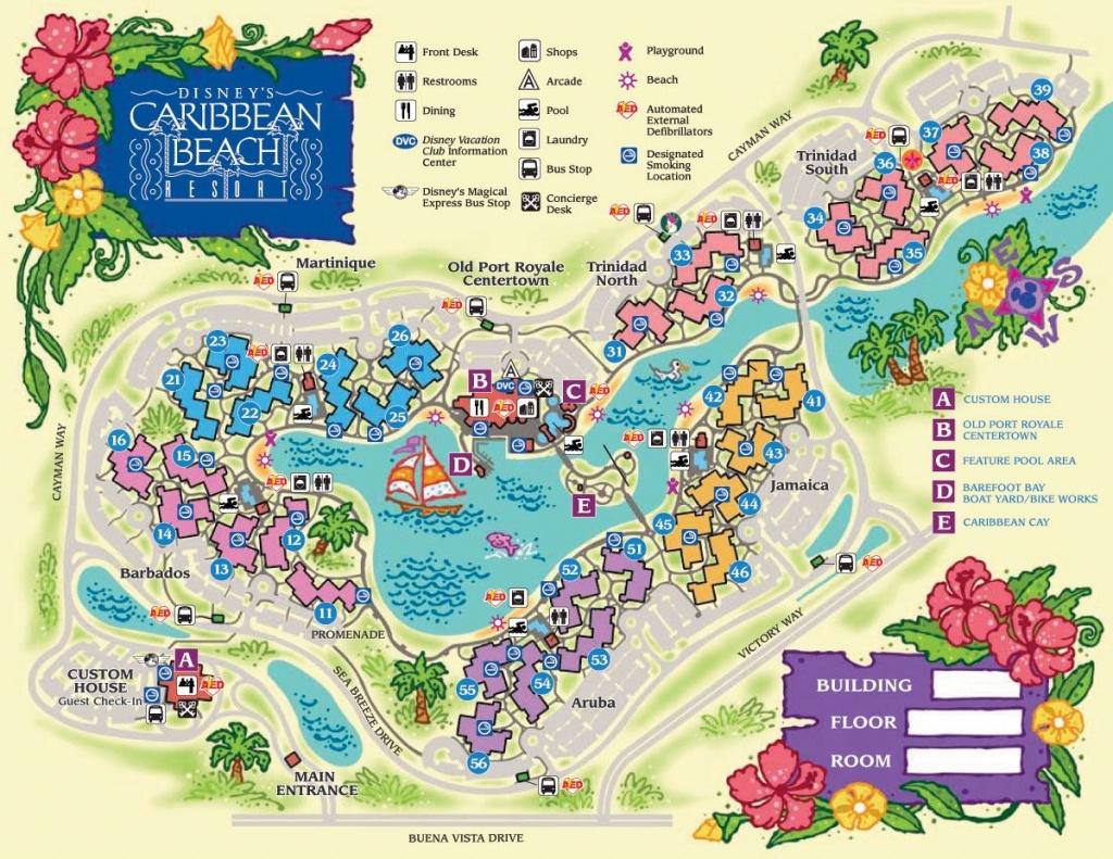 Pirate Rooms At Disney's Caribbean Beach Resort   Disney World - Map Of Florida Beach Resorts