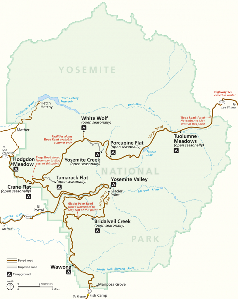 Places To Go - Yosemite National Park (U.s. National Park Service) - Yosemite California Map