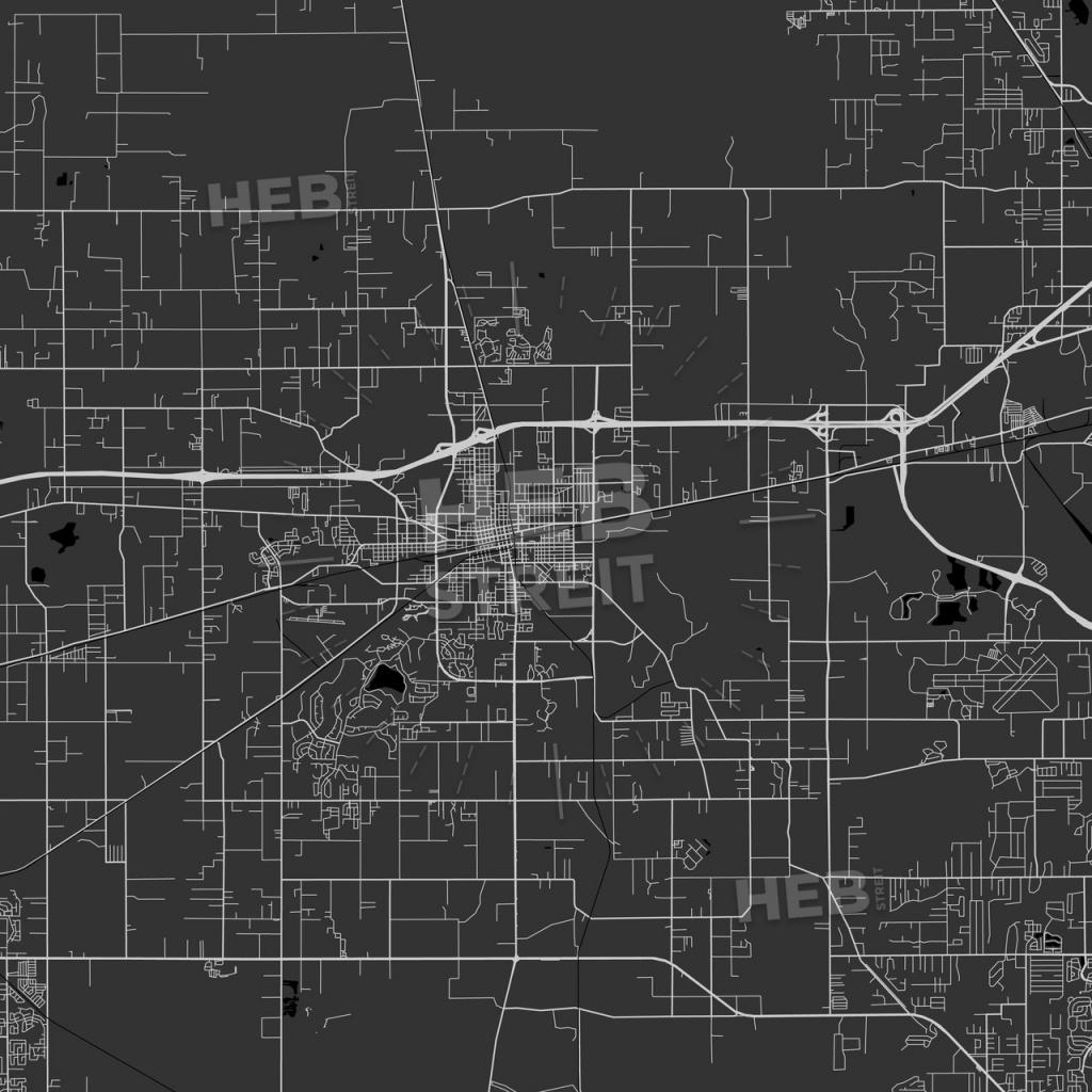 Plant City, Florida - Area Map - Dark | Hebstreits Sketches - Plant City Florida Map
