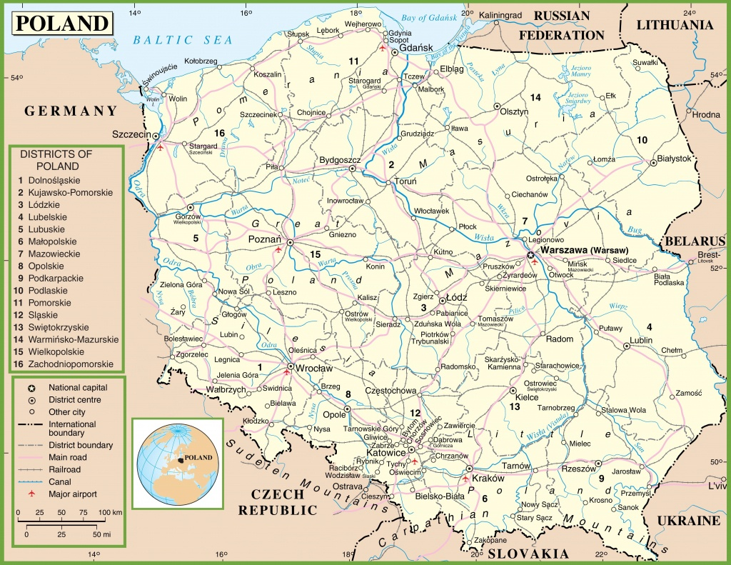 Poland Political Map - Printable Map Of Poland