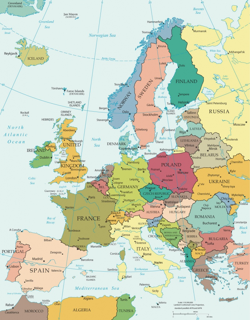 Political Map Of Europe - Countries - Printable Map Of Europe With Countries And Capitals