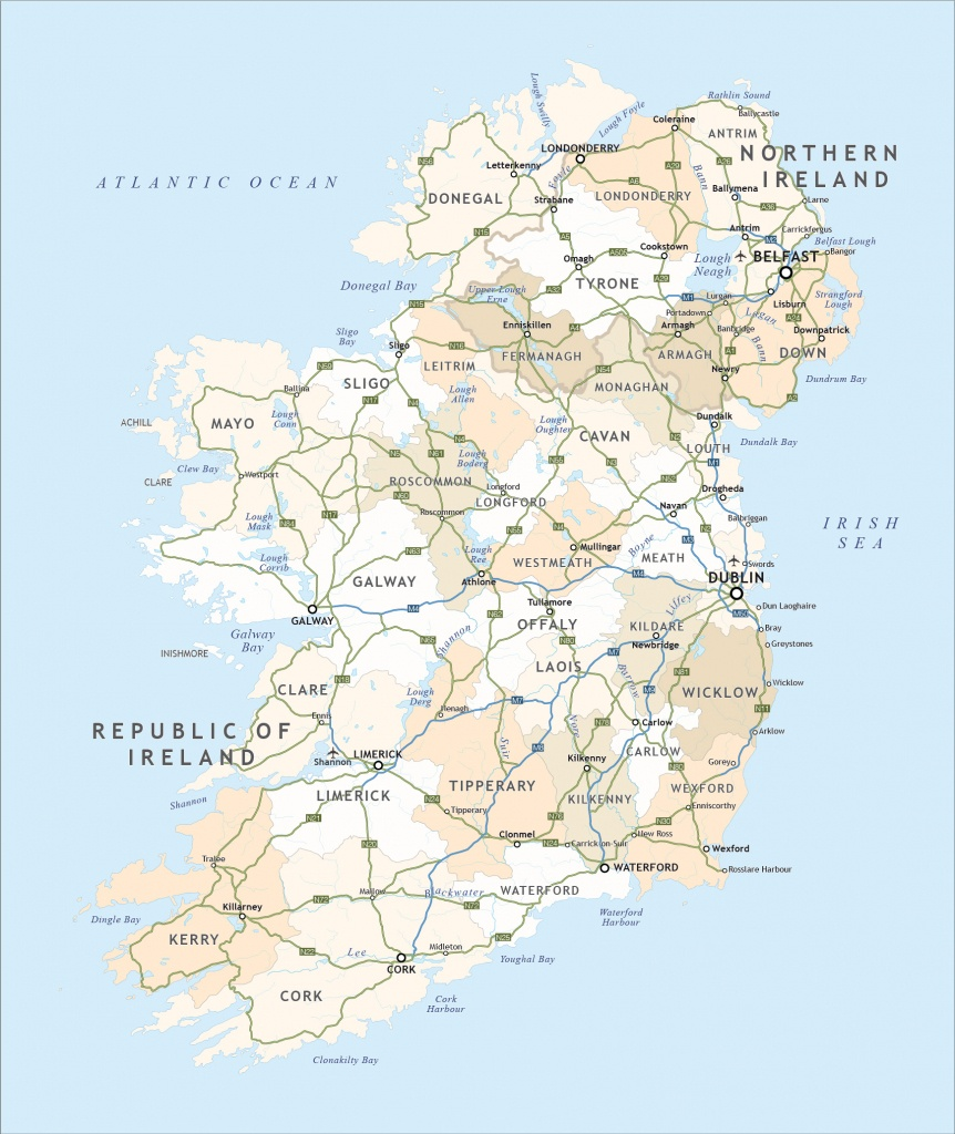Political Map Of Ireland - Royalty Free Editable Vector - Maproom - Printable Road Map Of Ireland