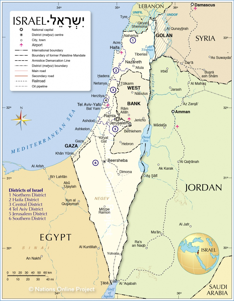 Political Map Of Israel - Nations Online Project - Printable Map Of Israel