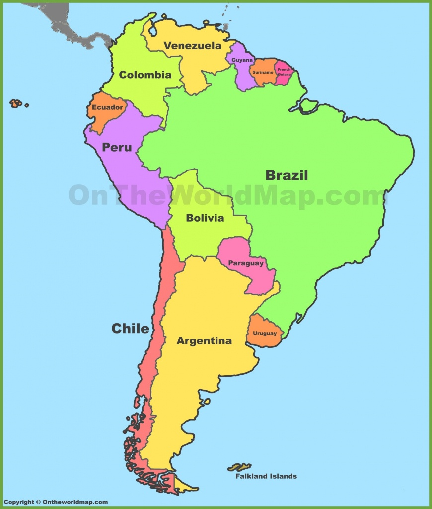 Political Map Of South America Printable 5 - World Wide Maps - Printable Map Of South America With Countries