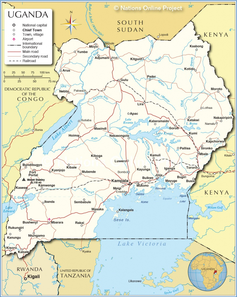 Political Map Of Uganda - Nations Online Project - Printable Map Of Uganda