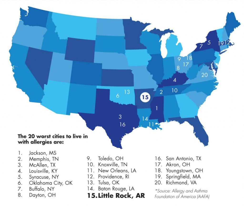 Pollen Puts Little Rock On Appalling Allergy List - Fit Arkansas - Pollen Map Texas