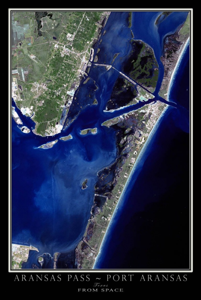 Port Aransas Texas Satellite Poster Map (Travel Gadgets South - Map Of Port Aransas Texas Area